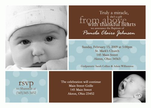 19 best Christening Ideas images on Pinterest Christening - sample baptismal invitation for twins