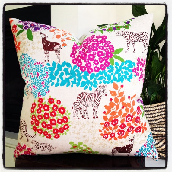 Large Cushion  Jungle Fever 55x55cm with linen by littlebcushions, $70.00