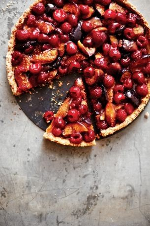 roasted fig and raspberry tart with toasted almond crust