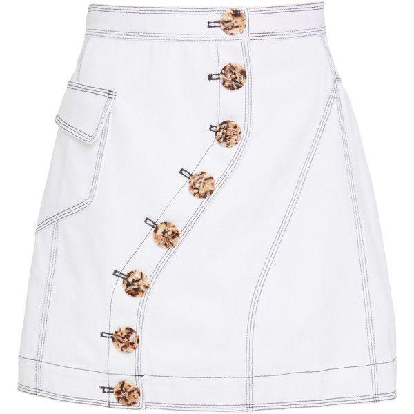Golding Denim Skirt   Moda Operandi ($250) ❤ liked on Polyvore featuring skirts, gold skirt, high rise denim skirt, high-waist skirt, white denim skirt and high-waisted skirt