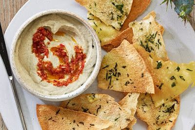 Smoky eggplant puree with harissa    Curtis Stone starts off your Christmas feast with this delightfully smoky dip served with homemade pi...