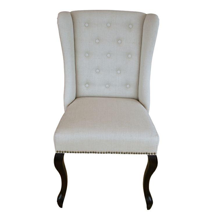 Fru Lin stilfull spisestuestol i lin og ben i eik. www.krogh-design.no/shop/spisestue-stol