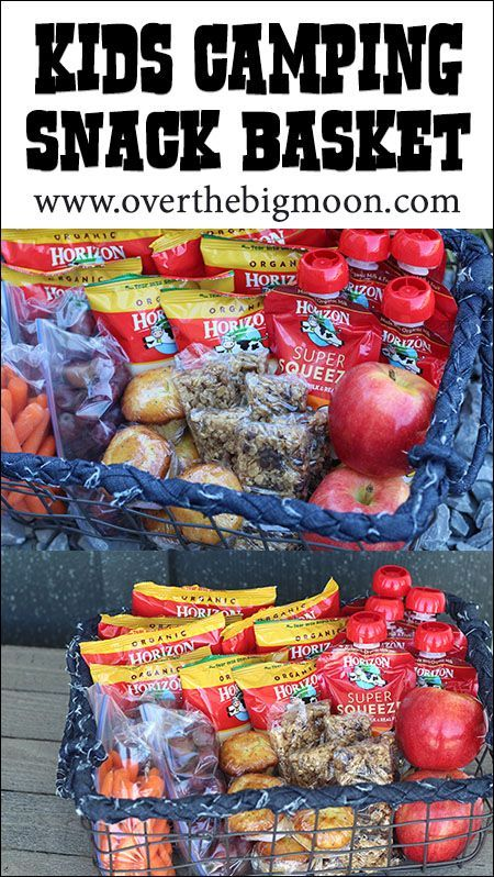 Kids Camping Snack Basket | Over The Big Moon - Help make snack time easy while camping with this fun idea!  Kids love it!  #ad #HorizonSnacks #Curious Kids
