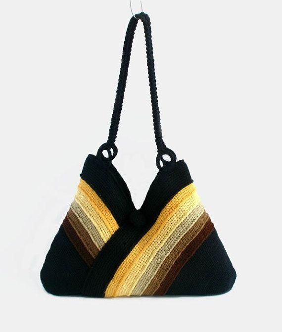 Crochet el bolso en colores otoñales todos los días con por RUMENA