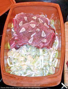 Kotelett im Römertopf mit Meerrettich - Kartoffel - Lauch