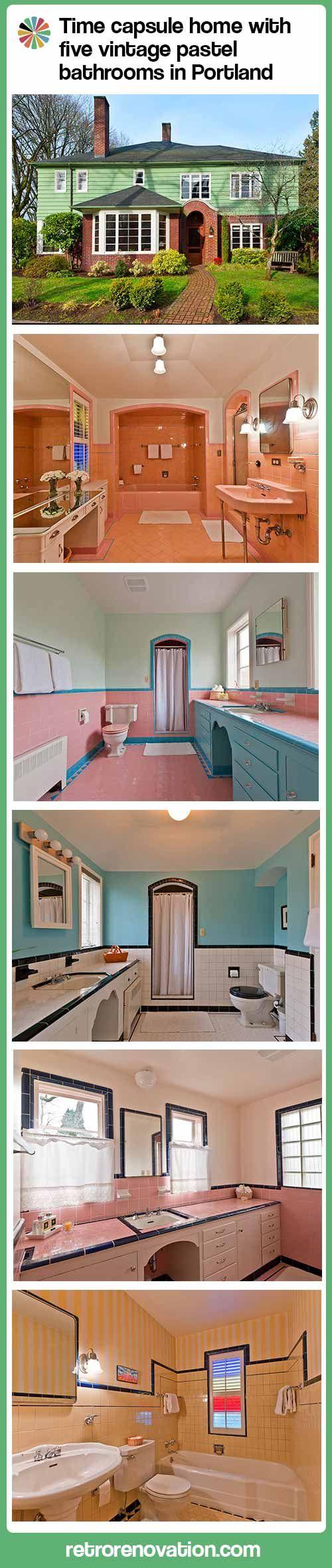 Five vintage pastel bathrooms in this lovely 1942 capsule house -- Portland, Oregon -- 13 photos - Retro Renovation