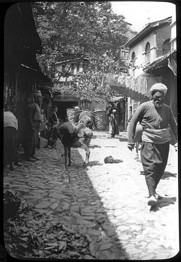 Bursa ; Brous; Dans une rue, passants et âne PhotographeRoy, Lucien (architecte) Date prise vue 1908