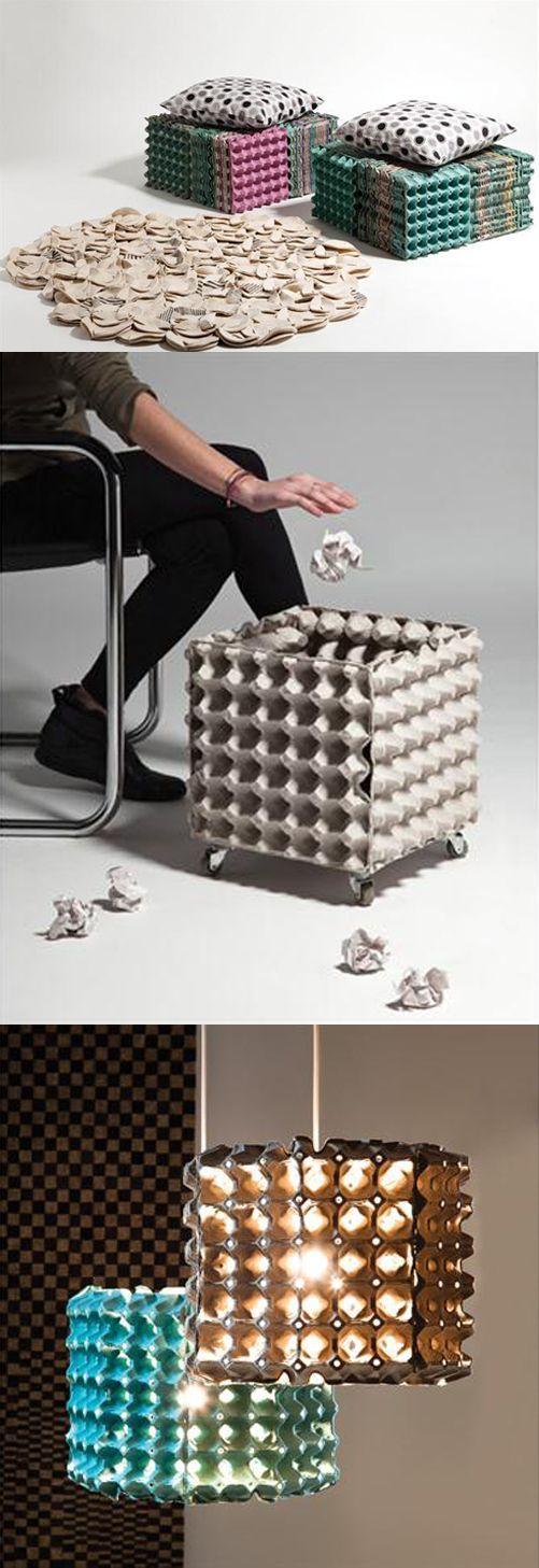 Muebles reciclando separadores de cartón para huevos