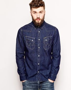 Wrangler Denim Shirt Slim Fit City Western Dark Indigo