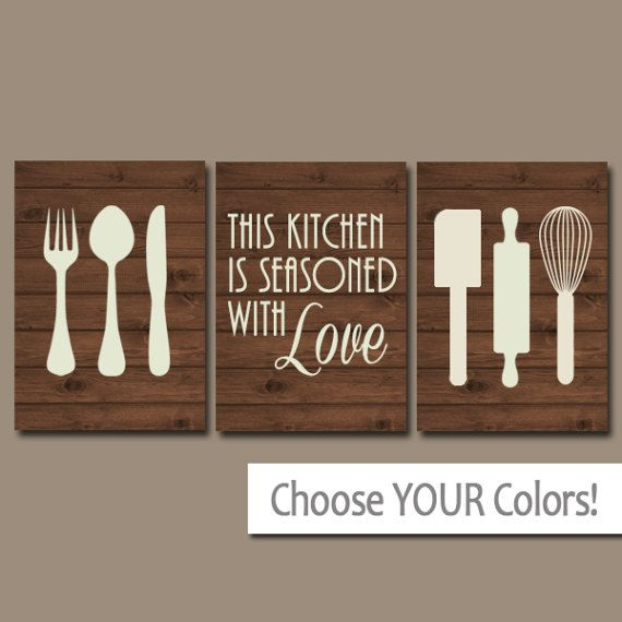 KITCHEN Wall Art CANVAS or Prints Utensil PICTURES by TRMdesign