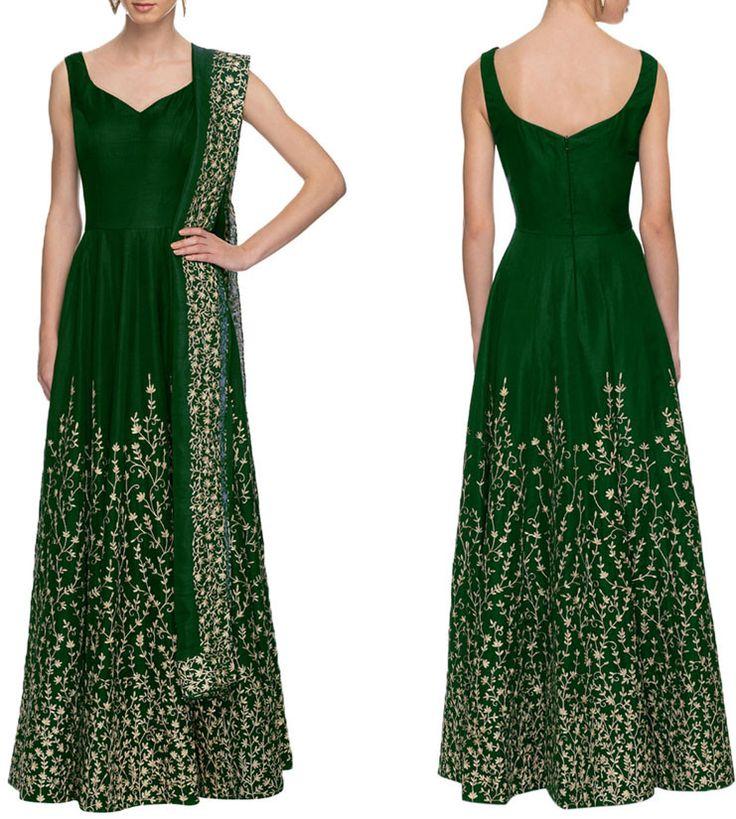Fabulous Bottle Green Anarkali Suit