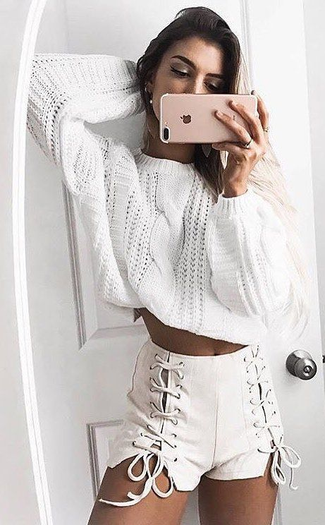 #winter #outfits /  White Cropped Top // Cream Laced Up Short