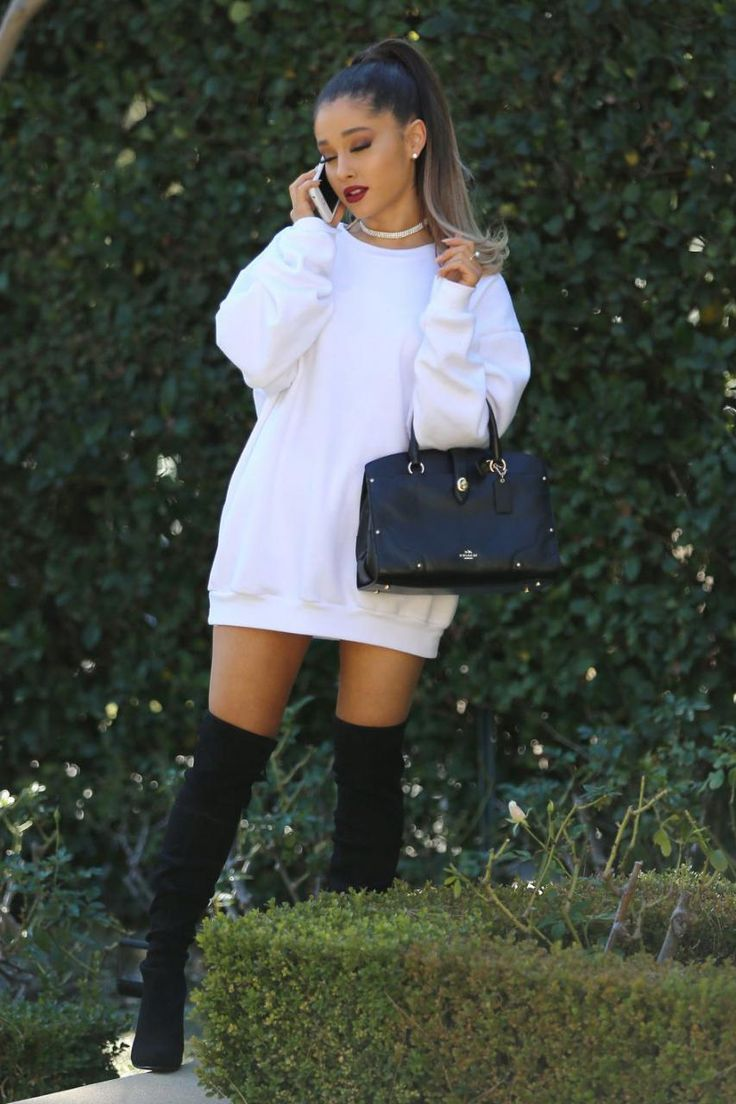 Ariana Grande wearing Christian Louboutin Gazolina Over the Knee Boots, Coach Stanton Carryall Bag and American Apparel California Fleece Raglan in White