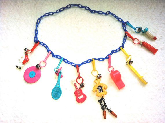 Vintage 1980's Plastic Charm Necklace. I had one of these and bracelet and belt