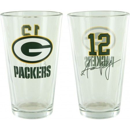 Green Bay Packers Aaron Rodgers #12 Pint Glass!  This glass is in dedication to former quarterback Aaron Rodgers! A single glass sixteen ounce glass sporting the Green Bay Packer emblem on one side, and his number on the other. Produced by Boelter Brands, hand wash recommended.   Available for $12.99!