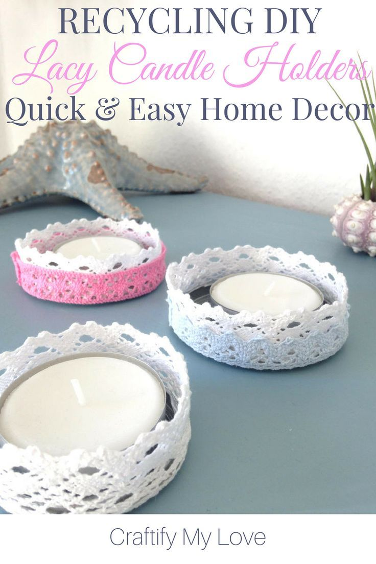 Recycling Project: DIY Lace Candle Holders