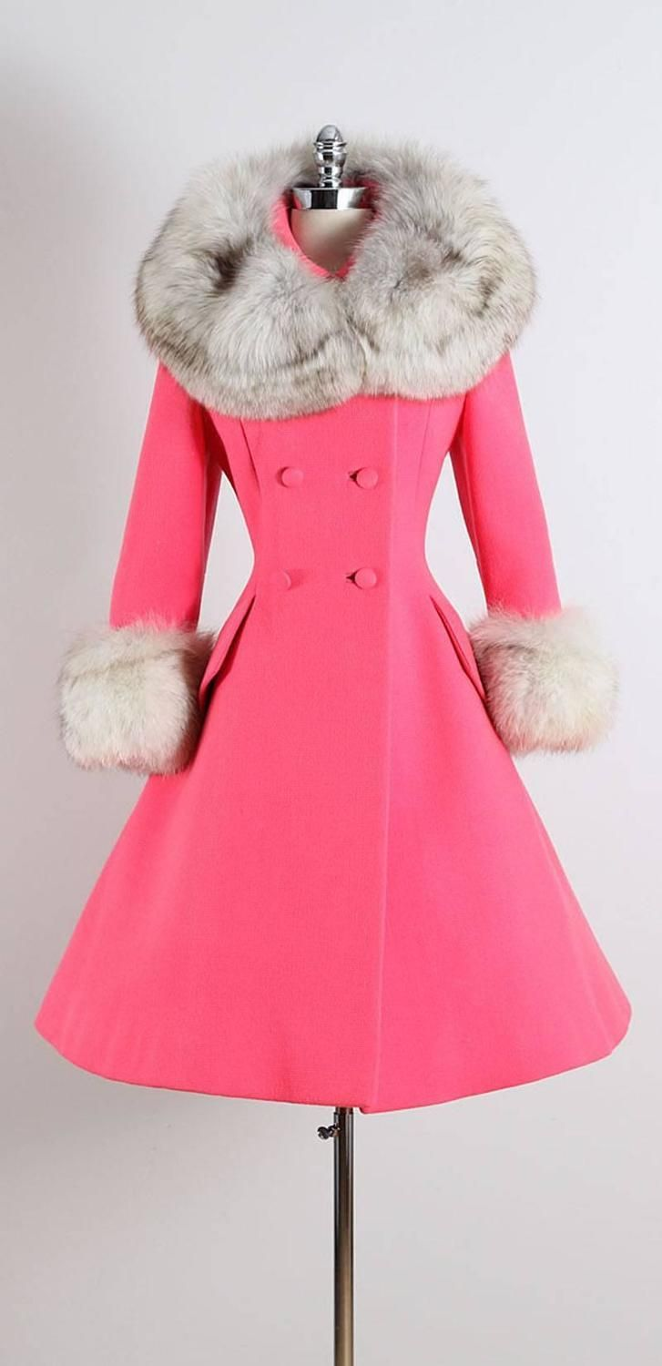 Vintage 1960s Pink Fox Lilli Ann Princess Coat