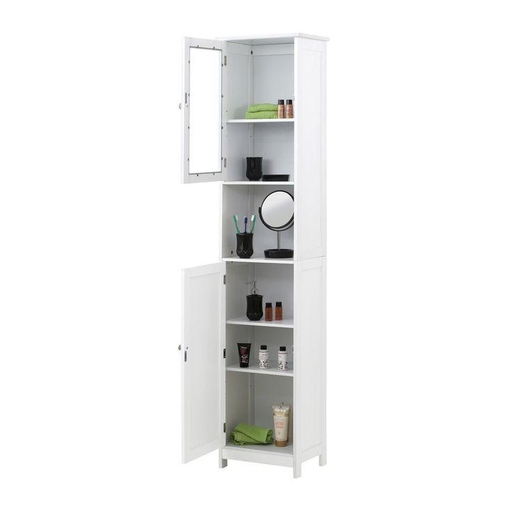Bathroom Linen Cabinet White Wood Tower Toilet Bath Doors
