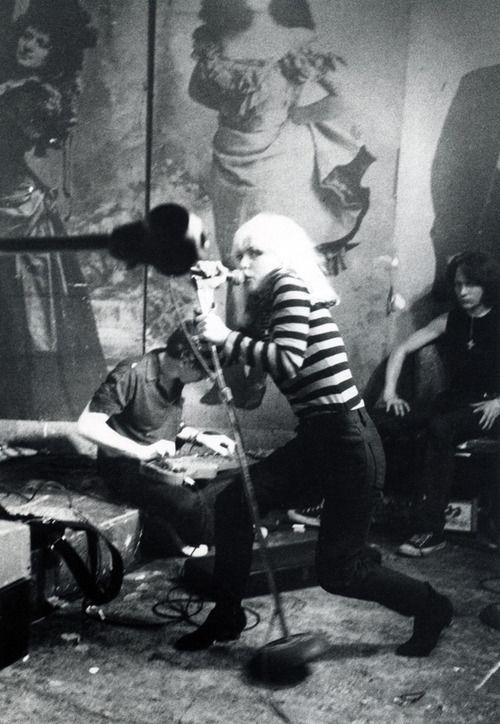 Debbie Harry performing with Blondie at CBGB in 1977