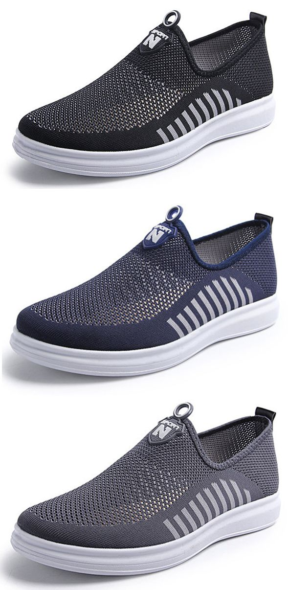Men Mesh Fabric Breathable Light Weight Slip On Casual Shoes