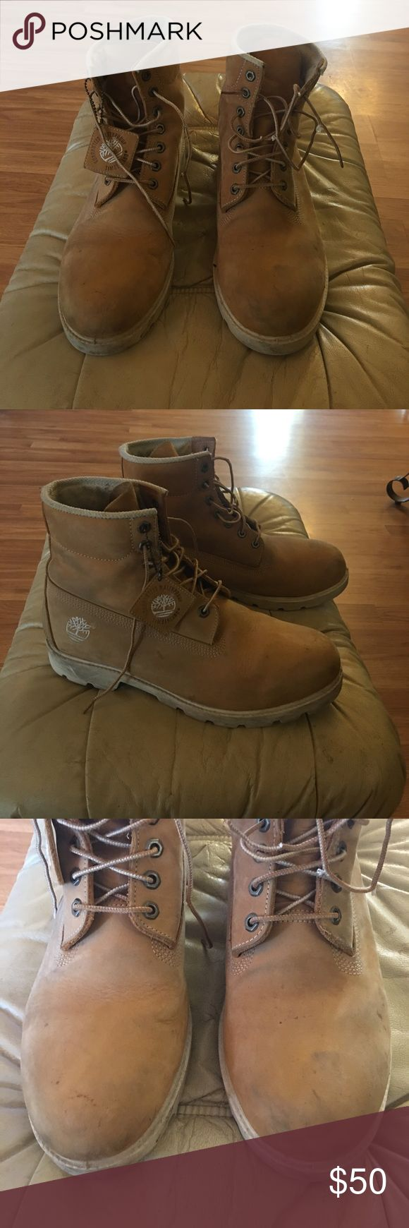 Men's Timberland boots Men's  wheat Timberland boots. Used but still good condition. Cream soles. Toes are a little dirty but I'm sure they will clean up easily. Just don't wanna try myself and mess them up😬 Timberland Shoes Boots