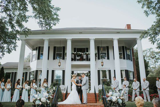 What a gorgeous place to share your vows! Victoria Belle Mansion and Vintage White Barn.