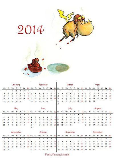 PDF printable yearly Calendar 2014 Bulldog's by FunkyFancyAnimals, €1.90