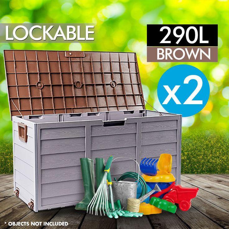 2x Mytopia Outdoor Storage Lockable  Box Brown Weatherproof Garden Deck Toy Shed