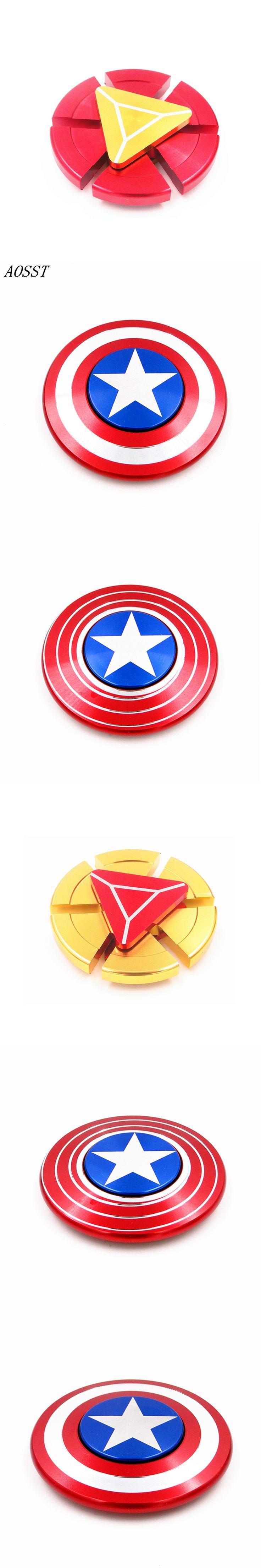 (AOSST) High-quality Captain America Shield Metal Hand Spinner Fidget Toys Spinner Finger Spinner Stress Wheel For ADD And ADHD