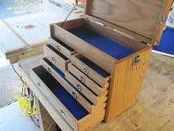 Machinists Toolbox by Machinehead -- Nice job, I built the same one a few years ago, and I use it for my machine cutting tools like taps, drills, end mills. Also calipers and mics in the bottom...