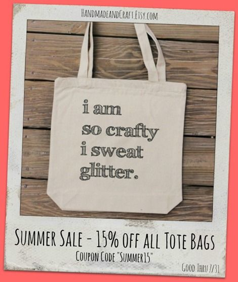 Summer Sale–Crafty Tote Bags from Handmade and Craft...for Jane Austen fans to foodies, there's a tote for you!