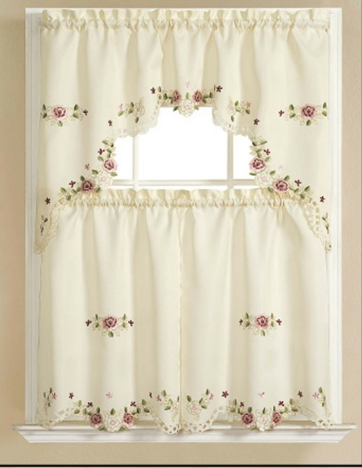 Alisha Elegant Embroidered Kitchen Curtain Swag And Tiers Set One Valance X Two Color Beige Red Lilac Green