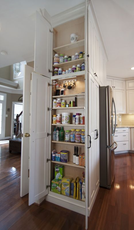 Pantry Cabinet with Double Opening and Outlet Inside