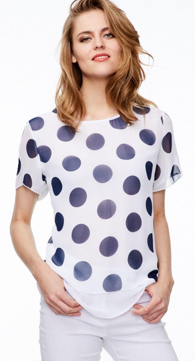 Блузка в большой горошек белый синий цвет шифон RISE #blouse #schifon #bluewhite #белыйсиний #весна2017 #выборпокупателей #riseshop.ru #лучшаяцена ####