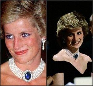 Princess Diana's Seven-strand diamond and sapphire pearl choker.