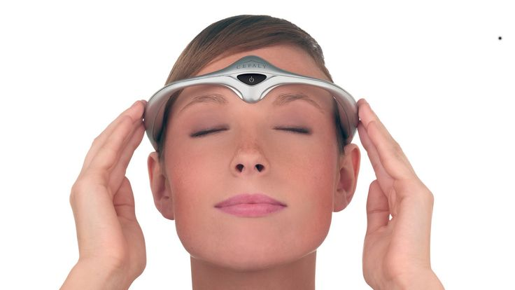 The battery-powered device sends electrical pulses through the skin of the forehead. People who used the headband in a study had fewer migraines and took less headache medicine.