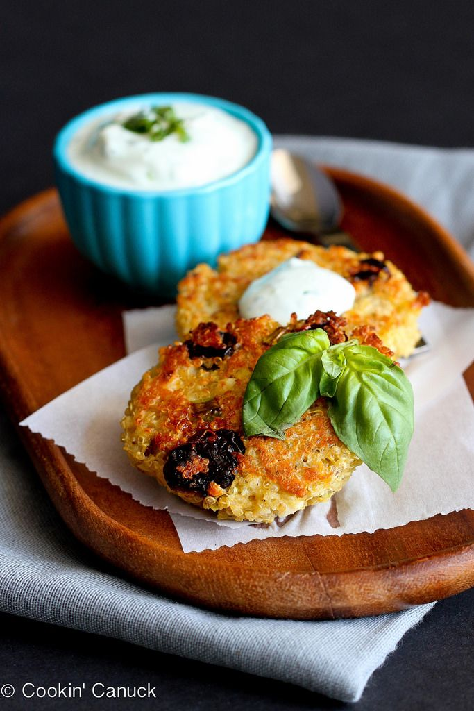 Baked quinoa cakes with a creamy basil yogurt sauce are a delicious appetizer. Dried tart cherries and pistachios add a hint of sweetness…
