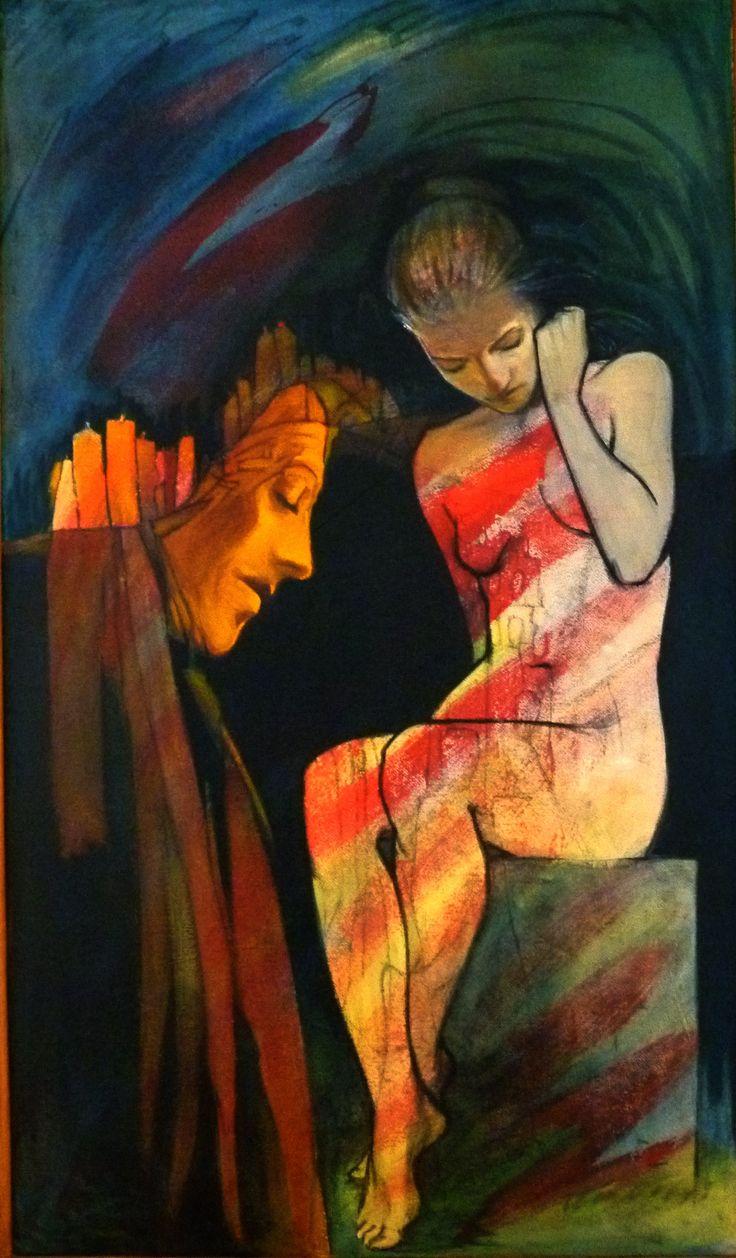 Otto Szabo: Psalms VI. - Oil on wood fiber, 140 x 70, 1 000 €