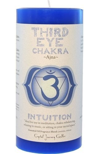 Third Eye candle CHAKRA Meditation Crystal Journey Candles Pillar Ajna Intuition
