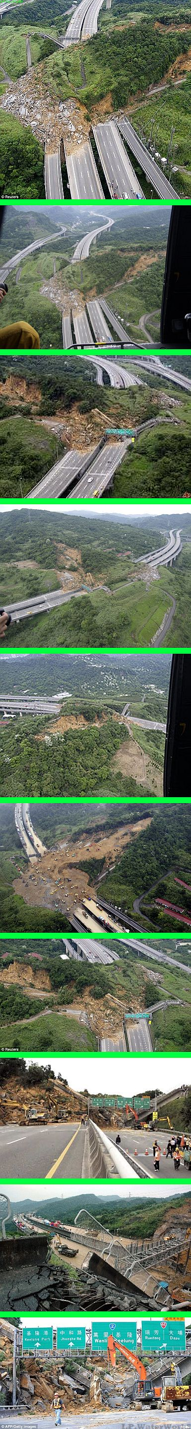 Real not a hoax: Usually only the first image is seen. - The landslide reportedly blocked a 300-meter long of a major road, the No.3 Freeway between Taipei and Keelung /