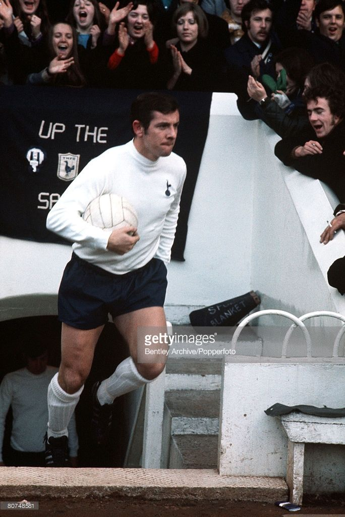 League Division One White Hart Lane London England Circa 1970's Tottenham Hotspur's Captain Alan Mullery leads out the team.