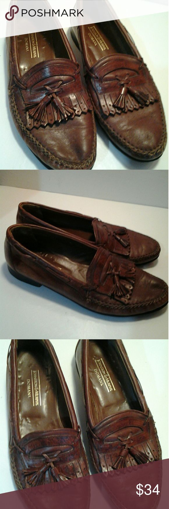 Johnson and Murphy Men's  Leather Loafers Johnson and Murphy Men's Brown Leather Loafers with tassels. Size 11M. Great Condition. Very little wear. Murphy and Johnson Shoes Loafers & Slip-Ons