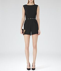 Womens Black Pleat-detail Playsuit - Reiss Theresa