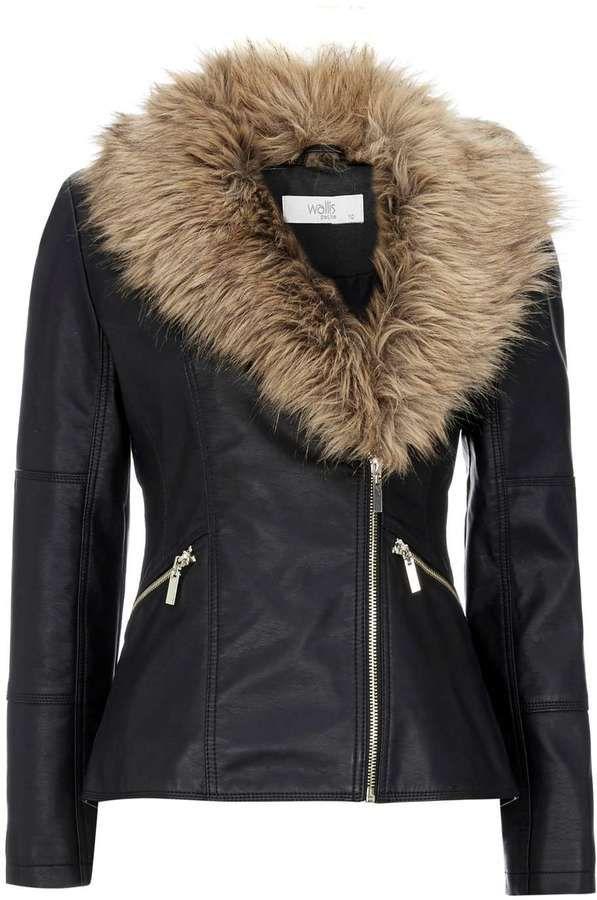 Petite Black Faux Fur Biker Jacket