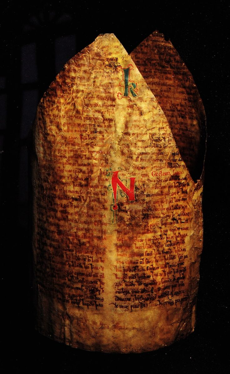 Medieval book from c. 1270 recycled to be used as a bishop's mitre lining. Pic: Copenhagen, Den Arnamagnæanske Samling, MS AM 666b 4to (c. 1270,  Strengleikar, Norse translation of Old French love poems). Erik Kwakkel's blog.