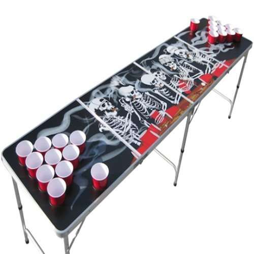 Our skull and bones beer pong table with holes.