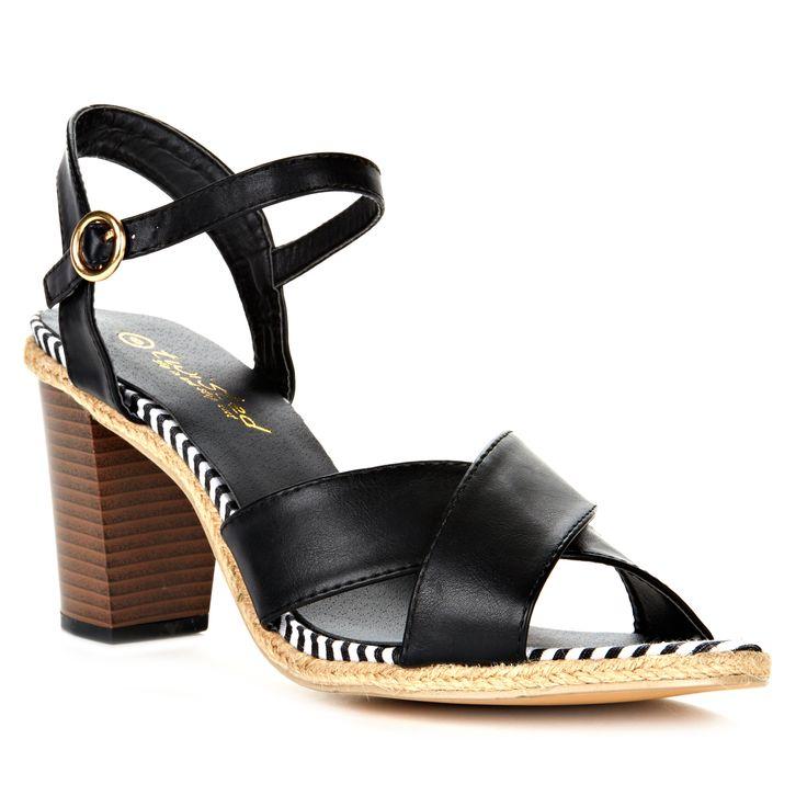Back Strap Stacked Heel Criss Cross Upper Stripe Sandal in color Black.