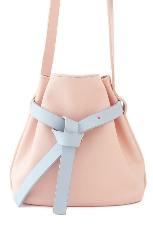 Color Block Leather Crossbody Bag - Pale Peachy-Pink and Powder Blue
