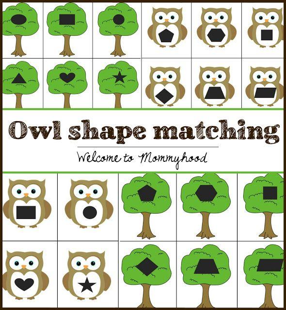 FREE owl shape matching printable from Welcome to Mommyhood #preschool, #montessori, #montessoriinspired, #preschoolactivities, #shapeprintables