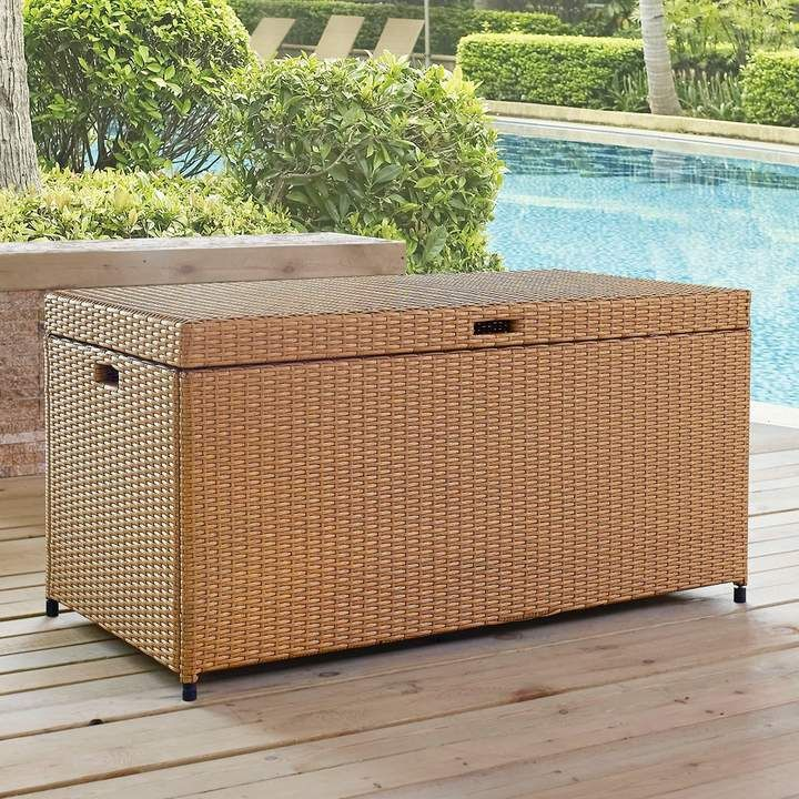 Crosley Furniture Palm Harbor Patio Wicker Storage Bin Features Uv Resistant With Images Resin Deck Box Wicker Storage Bins Deck Box